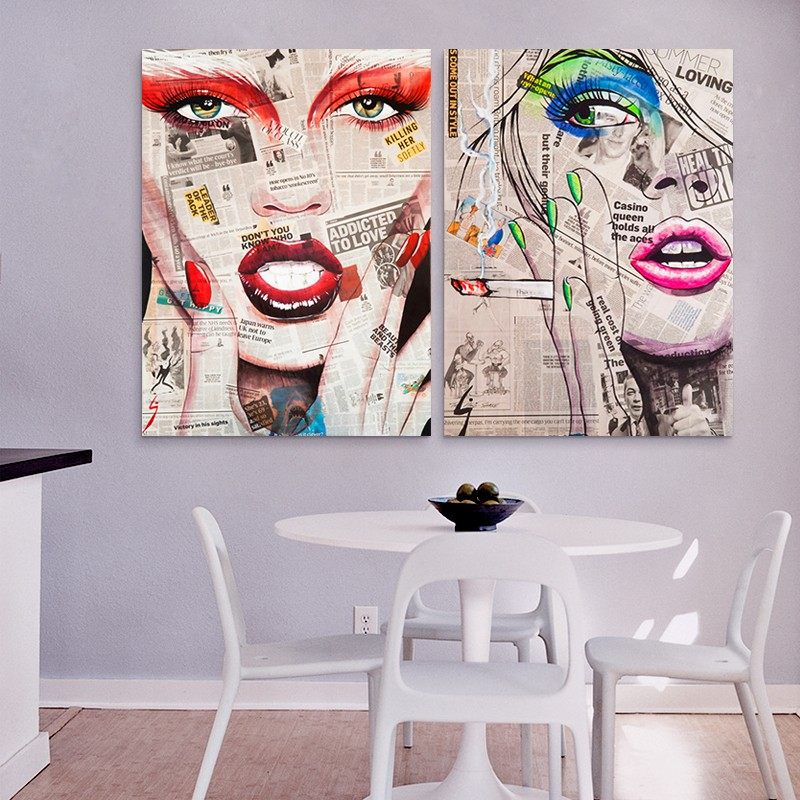 Hot Sell Modern Wall Painting Abstract Girl Face Home Decor Canvas Painting Art Picture Prints 1604JG305-306